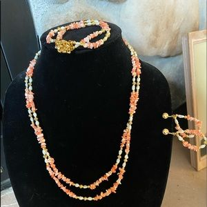 Coral and Fresh water pearl Necklace set